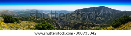 Horizontal wide panorama of Crete valley landscape background