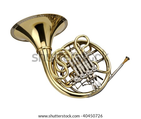 Horn wind instrument.  On a whithe background - stock photo