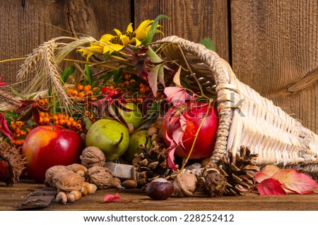 Horn with vegetables - stock photo
