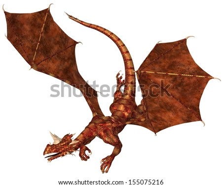Horned dragon with red metallic scales swooping to attack, 3d digitally rendered illustration - stock photo
