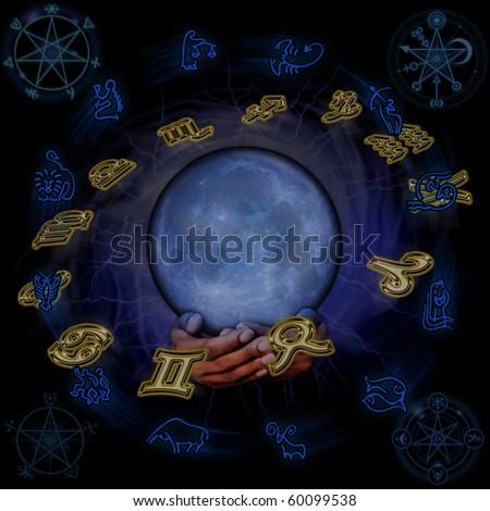Horoscope chiromancy - stock photo