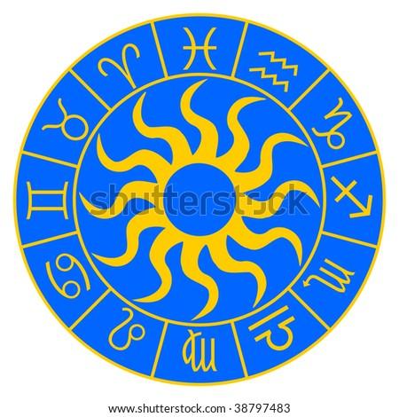 Horoscope symbols on the blue background - stock photo