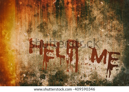 Horror Crime Concept. Help Me Message on Bloody Background Scary Wall - stock photo