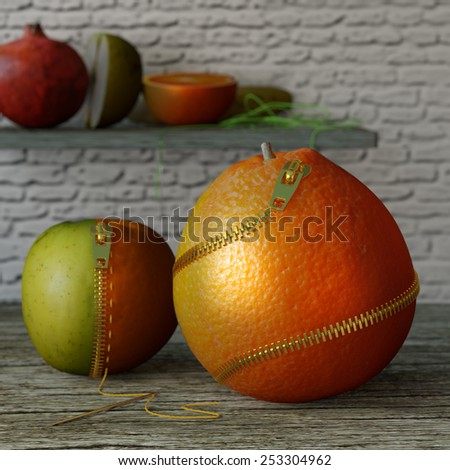 Horror food. Conceptual image for genetically modified produce, GMO. Zip orange, for easy access. - stock photo