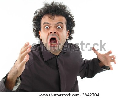 Horror man with hands on white . - stock photo
