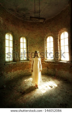 Horror movie scene: lonely girl - stock photo