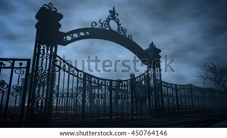 Horror night cemetery, grave. Moonlight . halloween concept. 3d rendering - stock photo