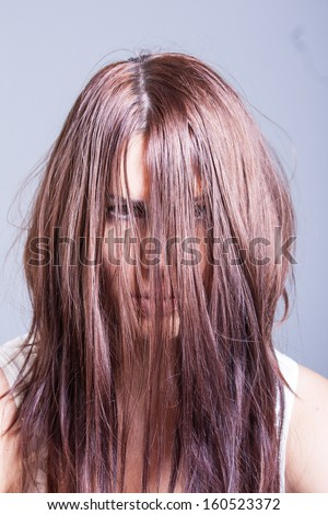 horror portrait of scary woman - stock photo