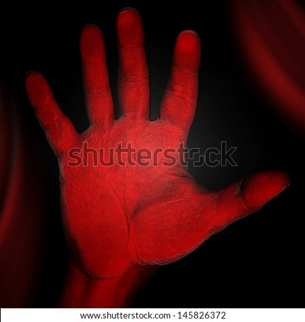 Horror - Red Hand / Bloody red hand on glass - horror concept and violence - stock photo