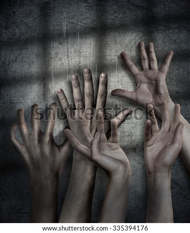 Horror Scene. Hand on wall background. Poster, cover concept - stock photo