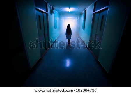 Horror scene of a scary children's ghost - stock photo