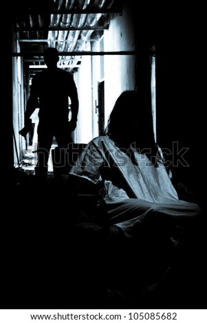 Horror scene of a scary woman LIGHTING FILM NOIR STYLE - stock photo