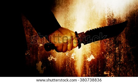 Horror scene of man with knife,Serial killer or violence concept background - stock photo
