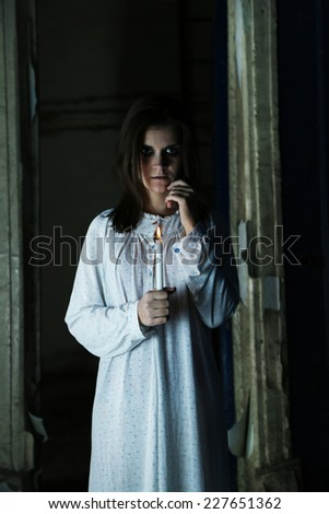Horror Scene of with scary woman - stock photo