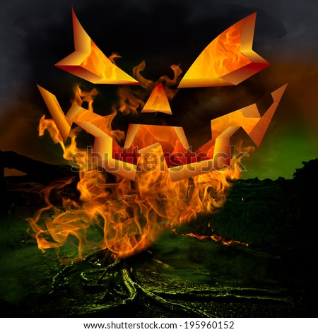 Horror Scene ~ Scary Jack O Lantern Pumpkin Face And Twisted Dead Tree Roots Burning In Inferno Hell Fire With Evil Eyes & Green Fog On A Dark Stormy Night - stock photo