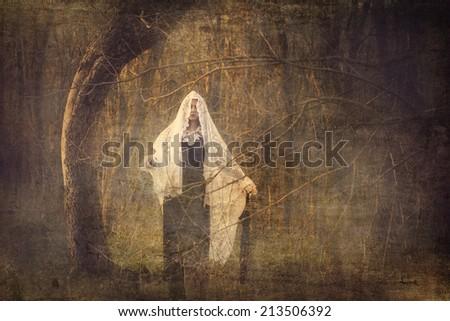 Horror scene with black dress scary girl - stock photo