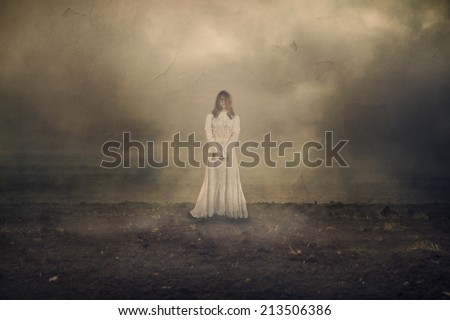Horror scene with white dress scary girl - stock photo