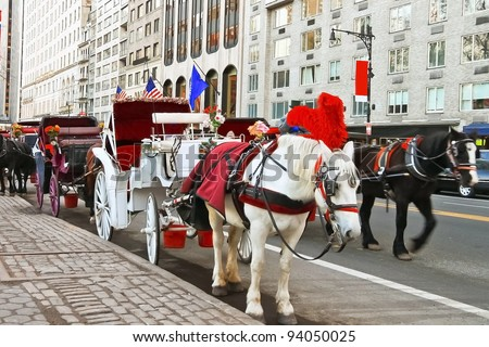 Horse and carriage at Central Park, New York City, USA - stock photo