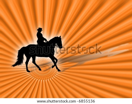 Horse and woman silhouette riding on the orange background - stock photo