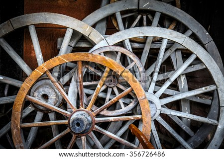 Horse Car Wheels - stock photo