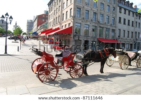 Horse Carriage in Montreal, Canada - stock photo