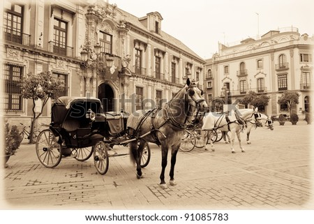 Horse carriage in Seville. Vintage. - stock photo