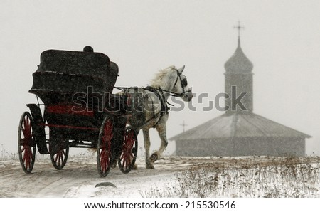 Horse carriage, in town - stock photo