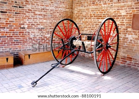 Horse Carriage Wheels in the Garage - stock photo