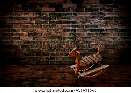 Horse chair, The old red brick walls and floors, Vintage style. - stock photo