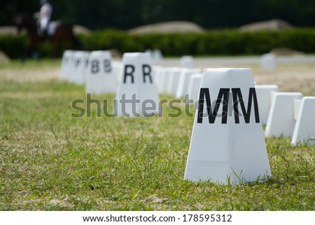 Horse Dressage Rings and rider - stock photo
