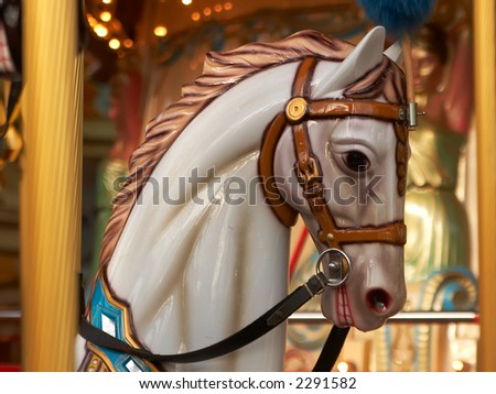 Horse from a carousel - stock photo