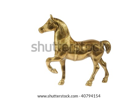 Horse from bronze isolated - stock photo