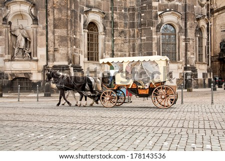 Horse harnessed in a coach outside in city Dresden - stock photo