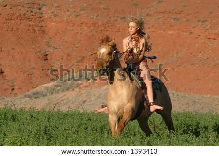 horse in utah red rock countryside - stock photo
