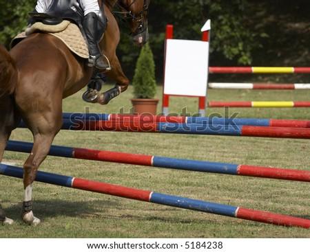 Horse jumping championship - stock photo