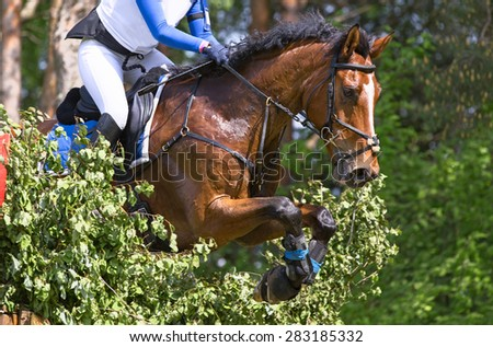 Horse leap over an obstacle during the eventing competition. - stock photo
