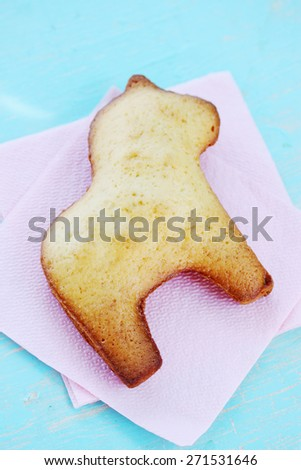 Horse of the biscuit dough on a napkin - stock photo