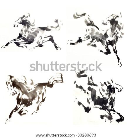 horse painting isolated on white background - stock photo