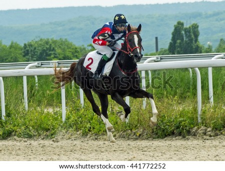 Horse race for the prize Salamova in Pyatigorsk,Caucasus,Russia.