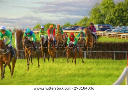 Horse race on grass track with horses jumping hedge.