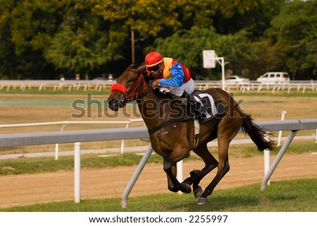 Horse races in Barbados. - stock photo