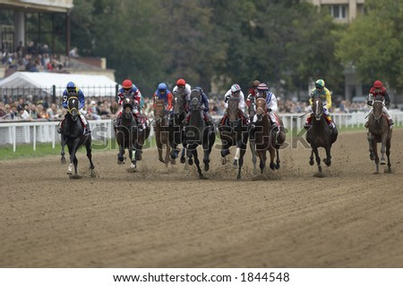 Horse races in Moscow (Russia) - stock photo