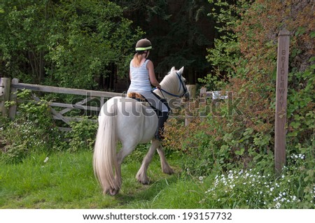 Horse rider using a bridleway - stock photo