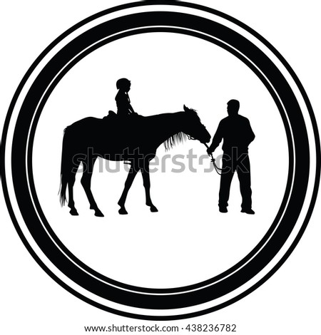 horse riding school - stock photo