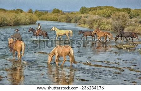 Horse roundup crossing river - stock photo
