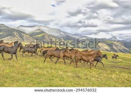 Horse roundup on Montana ranch, photo art - stock photo