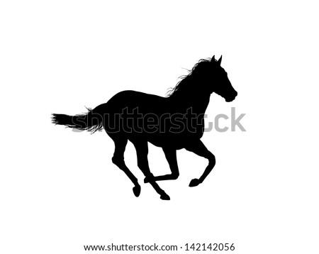 Horse running outline - stock photo