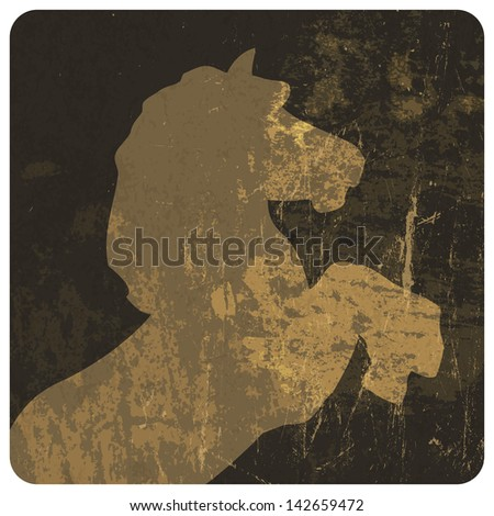 Horse silhouette on grunge texture. Raster version, vector file available in portfolio. - stock photo