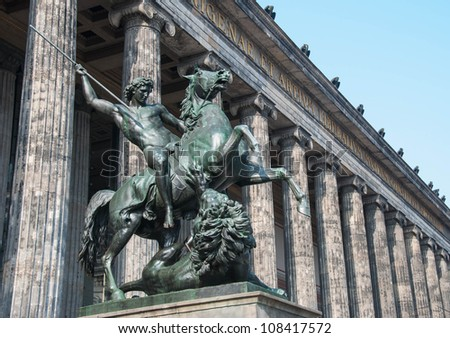 Horse statue at the door of the Altes Museum (Old Museum) in Berlin, Germany - stock photo