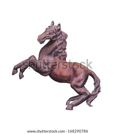 Horse statue isolated on white background with clipping path - stock photo
